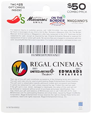 Amazon.com: Brinker-Regal Entertainment Movie & A Meal Gift Cards ...