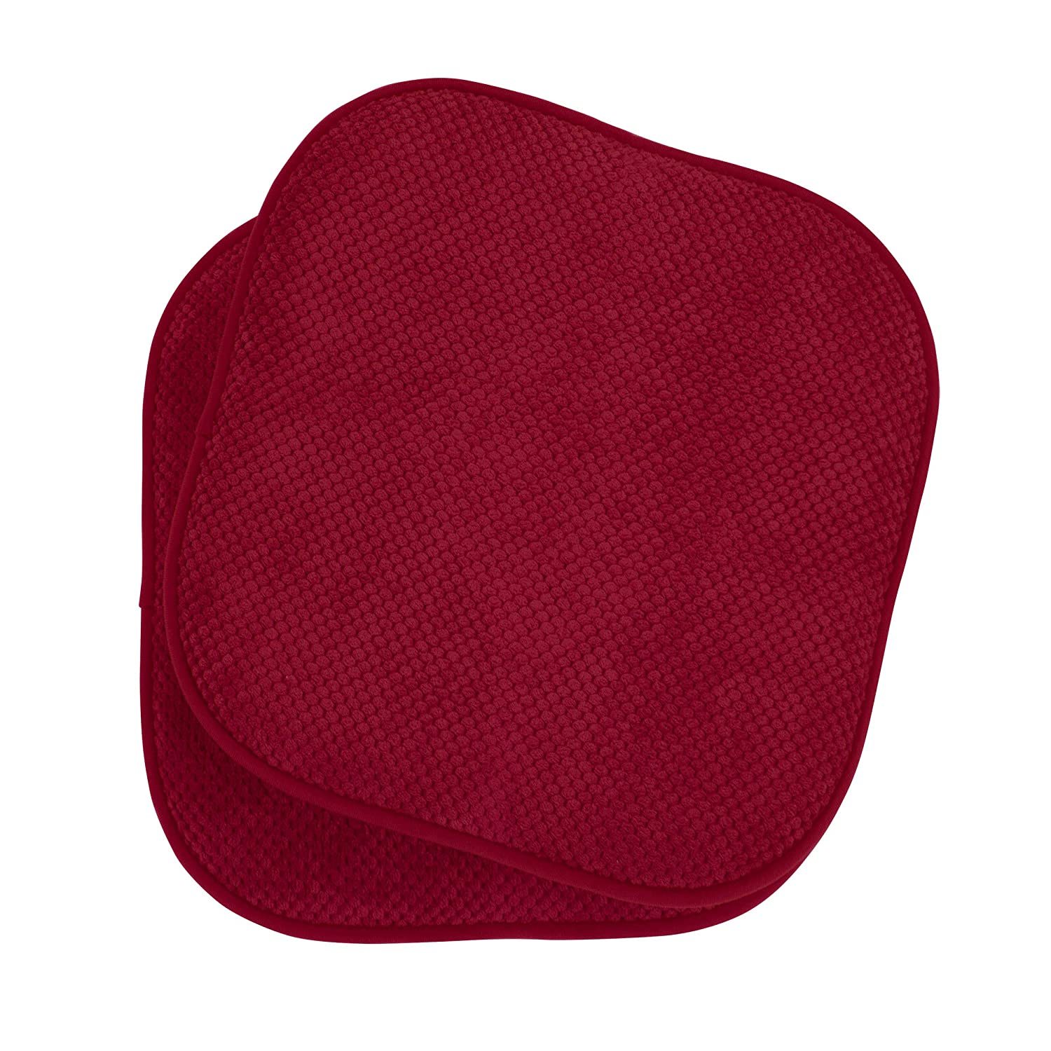 Amazon Bounce Comfort Bon Appetite Memory Foam 17 X 16 In Cushioned Chair Pad Set Of 2 Barn Red Home Kitchen
