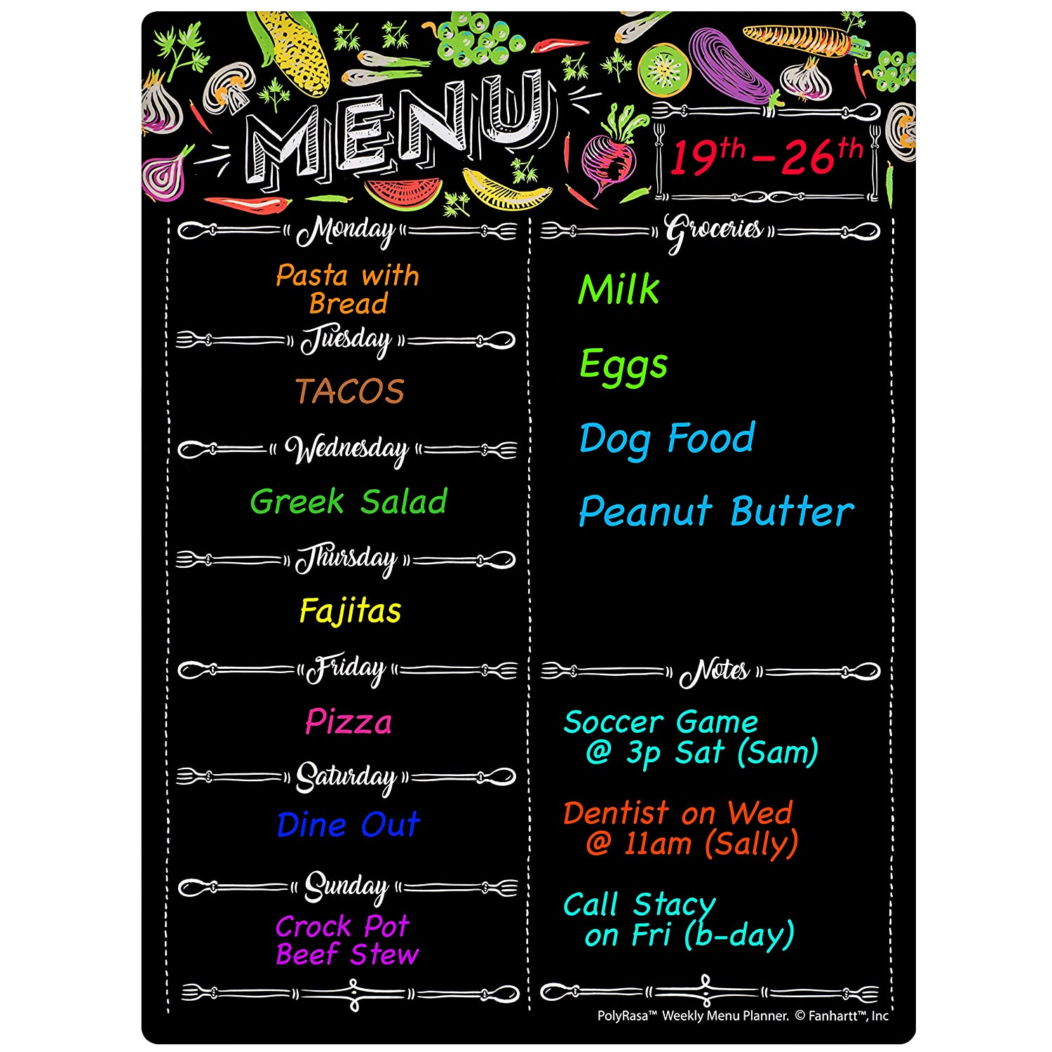 Amazon.com: Polyrasa Write-On Dry Erase Meal Planner ...