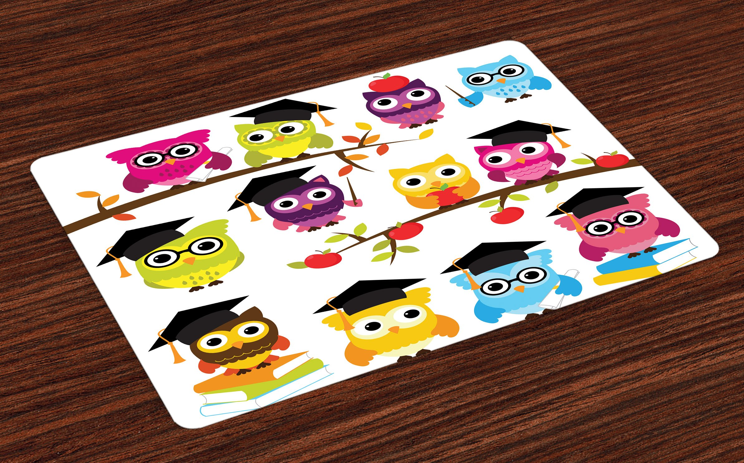 Lunarable Owls Place Mats Set of 4, Group of Smart Owls with Books Apples Hats Degree School Graduation Themed Artwork, Washable Fabric Placemats for Dining Room Kitchen Table Decoration, Multicolor