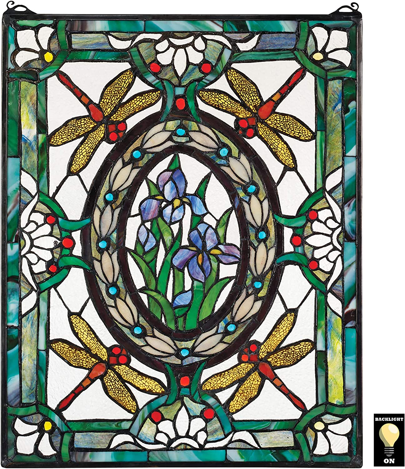 Amazon Com Design Toscano Dragonfly Floral Stained Glass Window Hanging Panel 25 Inch Stained Glass Full Color Home Kitchen