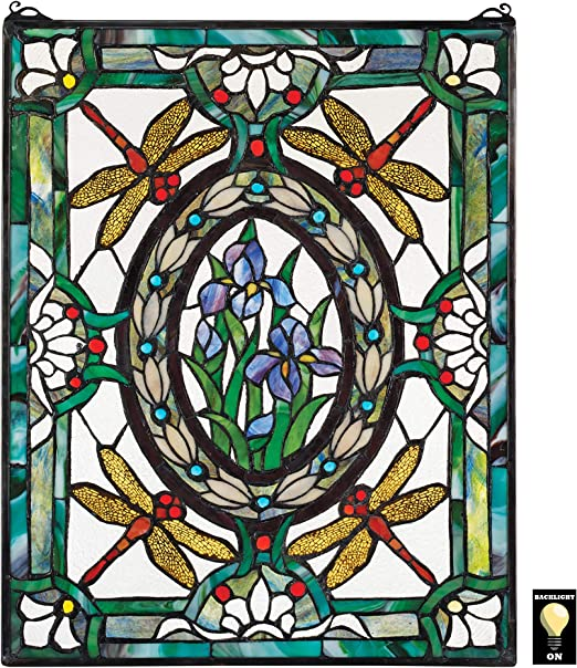 STAINED GLASS  DRAGONFLY GARDEN  FLOWERS FABLON STICKY BACK PLASTIC 45CM WIDE