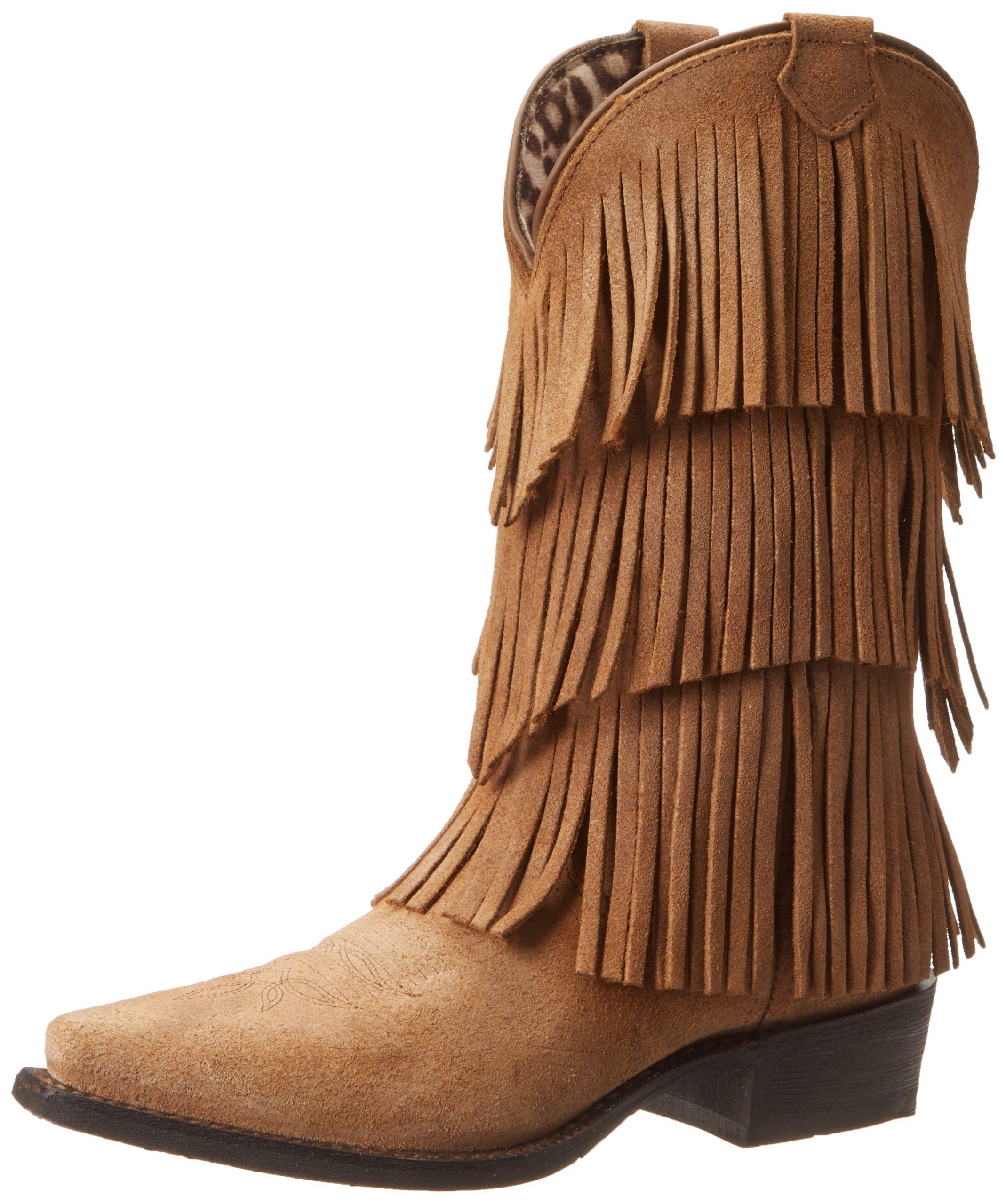 Dingo Women's Tres Fringe Western Boot,Burnished Tan,8.5 M US