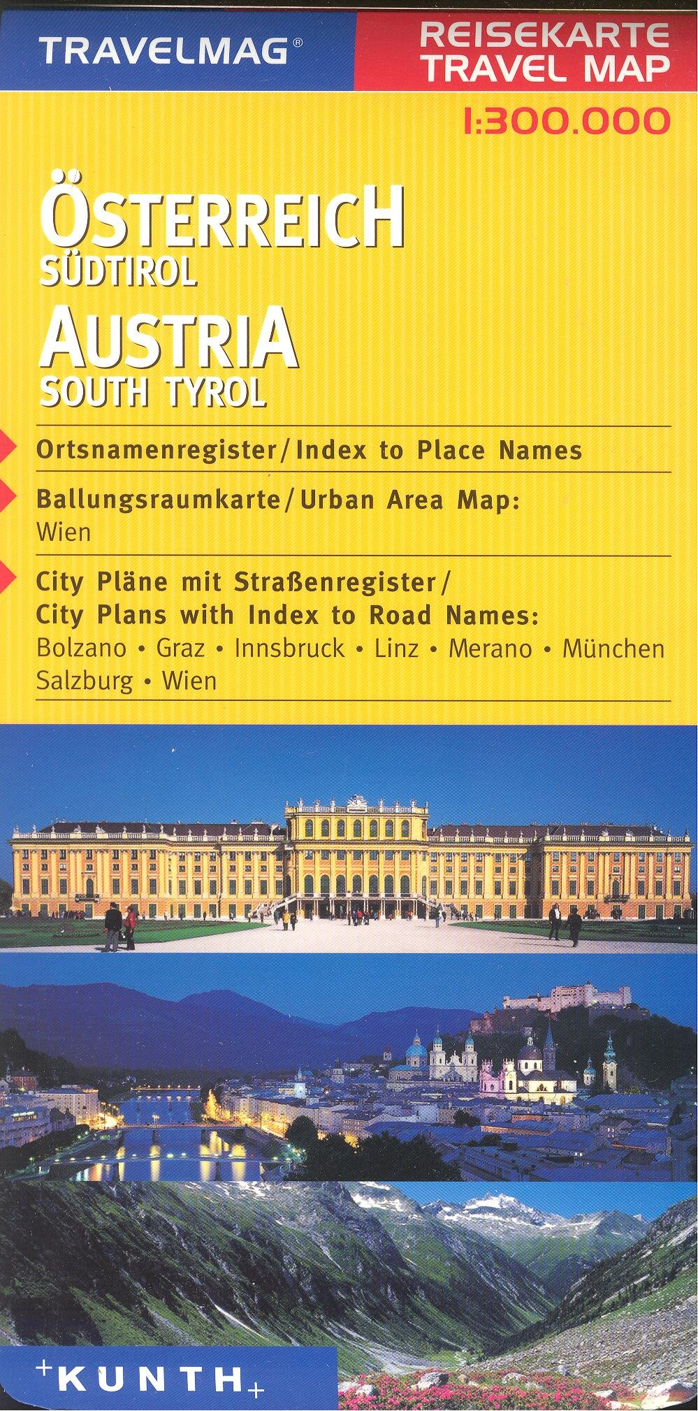 Austria & Northern Italy 1:300,000 Touring Map with city plans, KUNTH