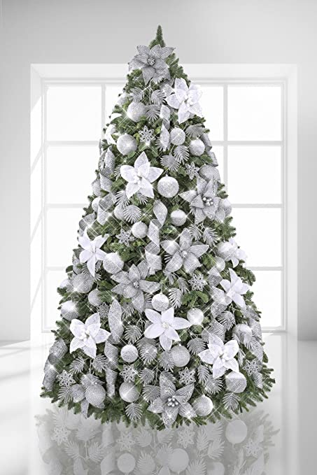 White And Silver Christmas Tree Decorative Pendant Decoration