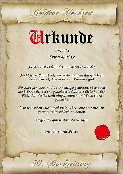 Goldene Hochzeit Urkunde Personalisiert Geschenk Karte Zum 50
