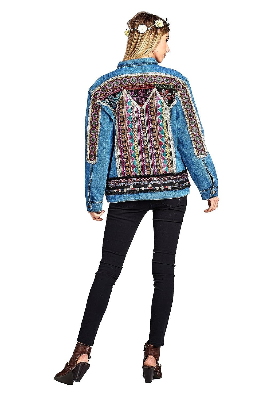 Amazon.com: velzera Mujer Bohemio bordado Denim chamarra de ...