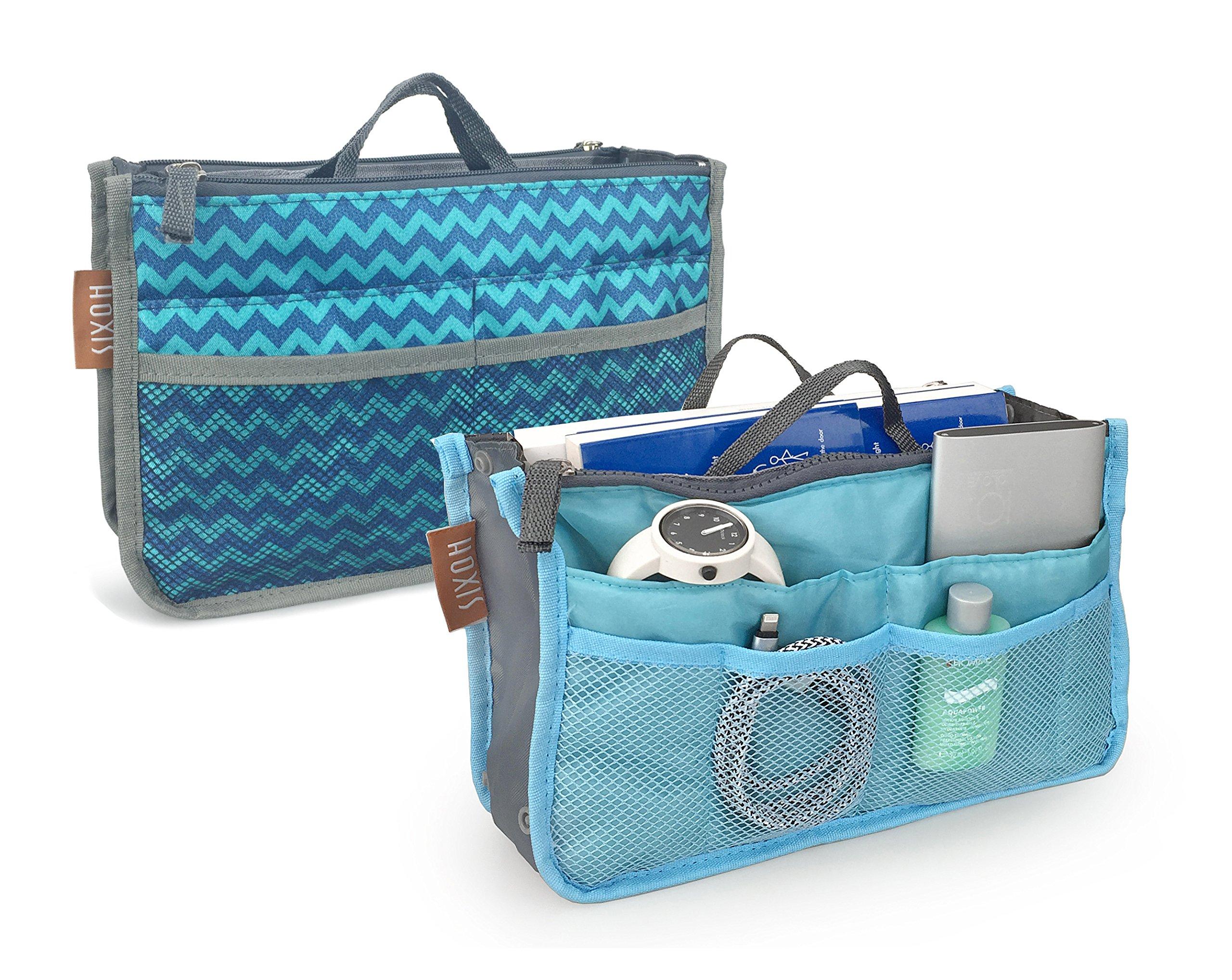 "Hoxis Insert Organizer 13 Pockets Organizer 10.6"" X 6.3"" Bag in Bag Pack of 2(Chevron&Blue)"
