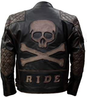 341f3b160 Quilted Vintage Motorcycle Biker Style Genuine Leather Jacket with ...
