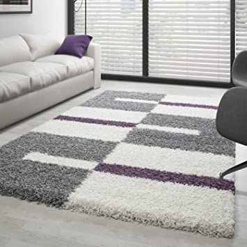 Carpettex Teppich Hochflor Langflor Wohnzimmer Shaggy Teppich Florhöhe 3cm  Grau Weiss Lila   160x230