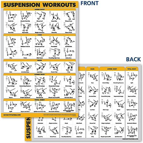 QuickFit póster de ejercicios de suspensión – doble cara laminada, 18 pulgadas x 27 pulgadas