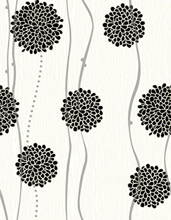 Flower Peel And Stick Wallpaper Backsplash Or Wall Paper Self Adhesive Wallpaper Easily Removable Wallpaper Black And White Flower Abstract Wallpaper Flowers 17 71 Wide X 118 Long Amazon Com