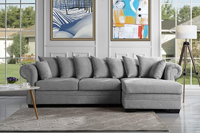 Review Modern Large Fabric Sectional Sofa, L-Shape Couch with Extra Wide Chaise Lounge (Light Grey)