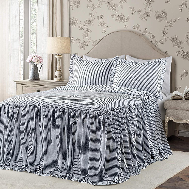 Lush Decor Lush Décor Ticking Stripe Bedspread Navy Shabby Chic Farmhouse Style Lightweight 3 Piece Set King,