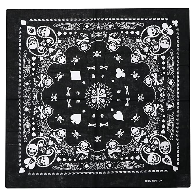 64f3f69da TRIXES Pañuelo Negro Bufanda de Doble Faz para la Cabeza Diseño de  Calaveras Blancas  Amazon.es  Ropa y accesorios