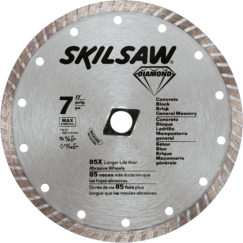 Skil 79510 7 Inch Turbo Rim Diamond Saw Blade With 5 8 Inch Or Diamond Knockout Arbor For Masonry Amazon Com