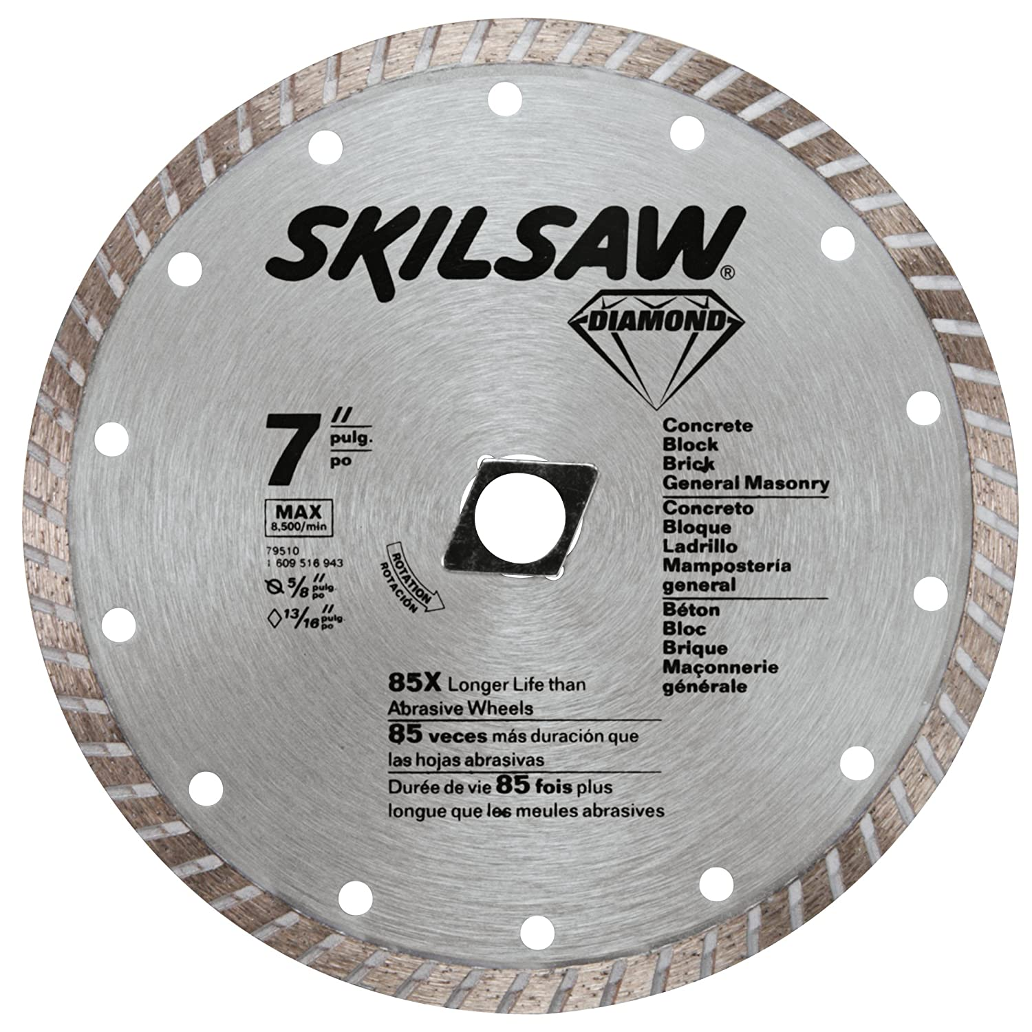 Skil 79510 7 inch turbo rim diamond saw blade with 58 inch or skil 79510 7 inch turbo rim diamond saw blade with 58 inch or diamond knockout arbor for masonry amazon greentooth Images