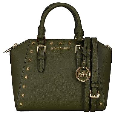 76e08d4549d0 Amazon.com: Michael Kors Medium Studded Ciara Medium Messenger Saffiano  Leather Womens Bag (olive): Shoes