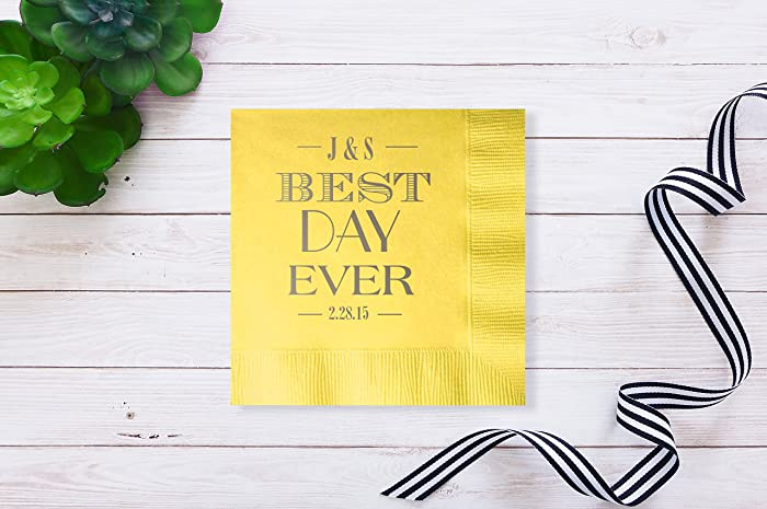 Best Day Ever Personalized Wedding Bar Napkins