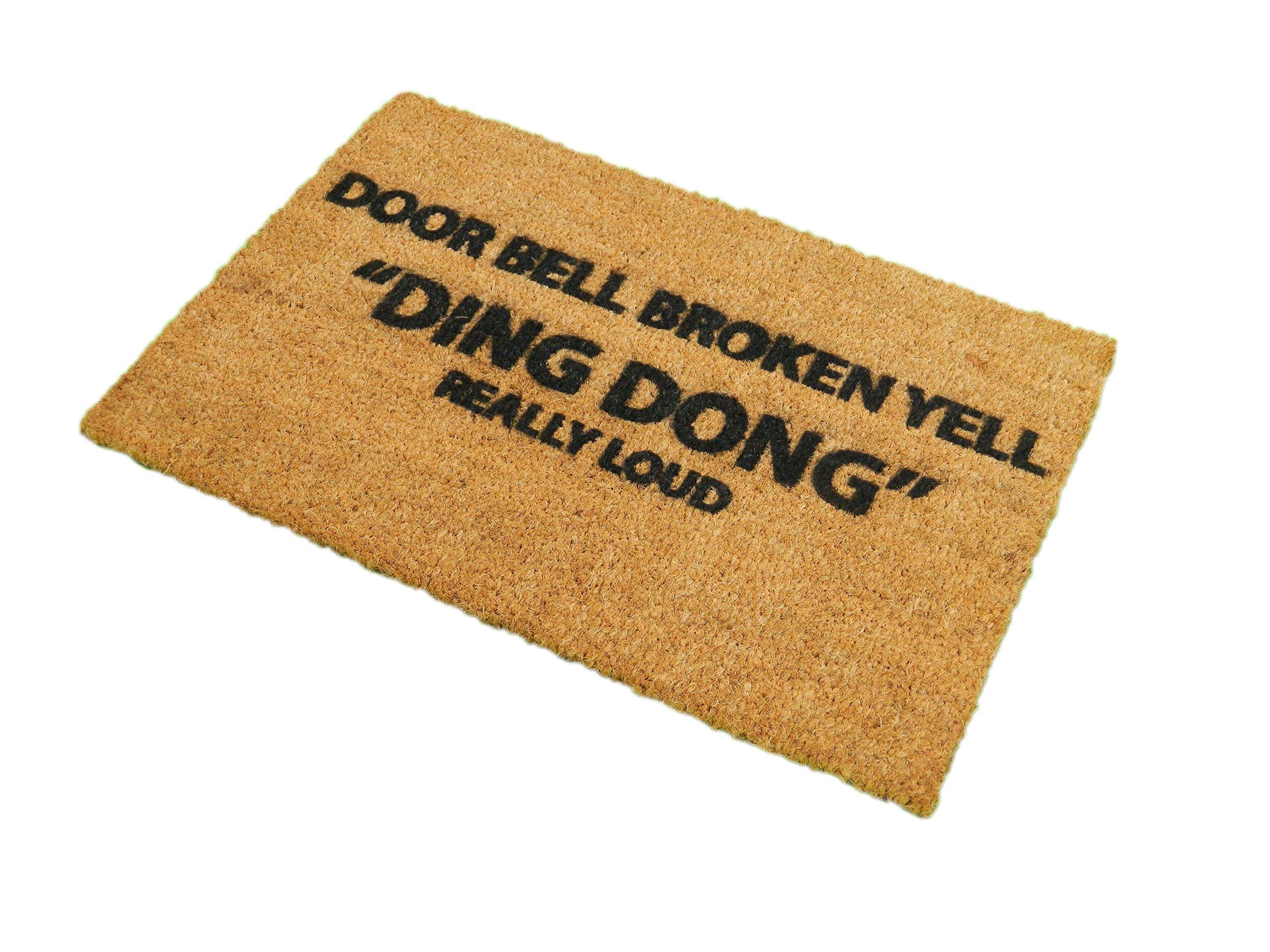 CKB Ltd Door Bell Broken - Yell Novelty Doormat Unique Doormats Front/Back Door Mats Made With A Non-Slip Pvc Backing - Natural Coir - Indoor & Outdoor