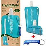 FOLDABLE WATER BOTTLE. BPA Free. 750ml/25oz. HydraMate lightweight, soft, squeezable, collapsible eco-friendly folding bottle for gym, outdoors, travel. Sports cap with hygienic safety lid. Refillable. Water viewing window. Carabiner clip. FREE keyring bottle opener! Single or Twin Pack.