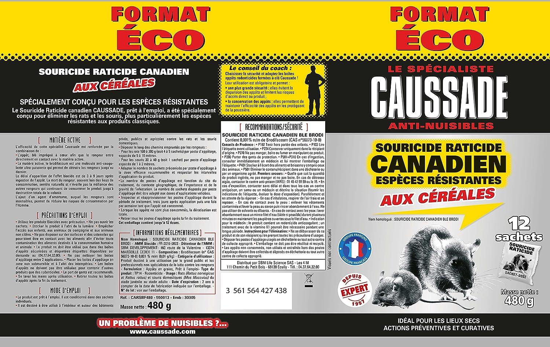 Bleu Caussade CARSBF480 Souricide Raticide Canadien aux Céréales Espèces Résistantes 480 g SBM LIFE SCIENCE