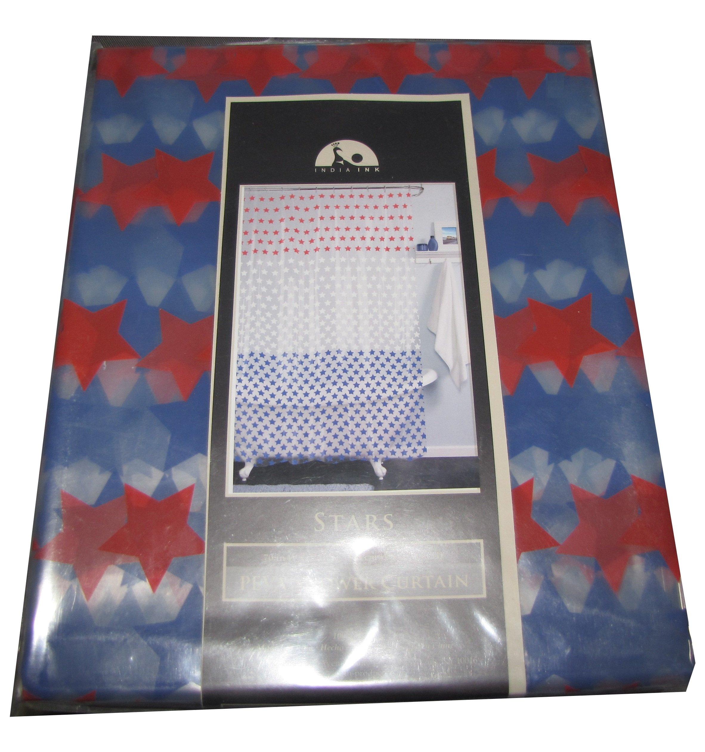 India Ink Peva Shower Curtain 70'' x 72'', Red/White/Blue Stars