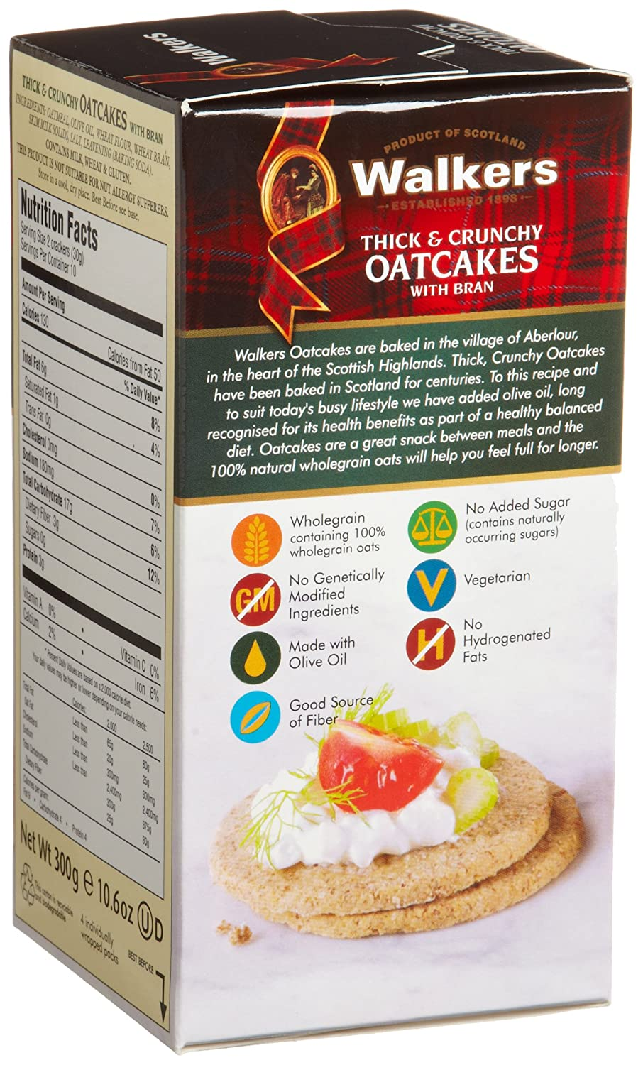Amazon.com: Walkers Shortbread Thick & Crunchy Oatcakes with Bran, 10.6 Ounce (Pack of 4)