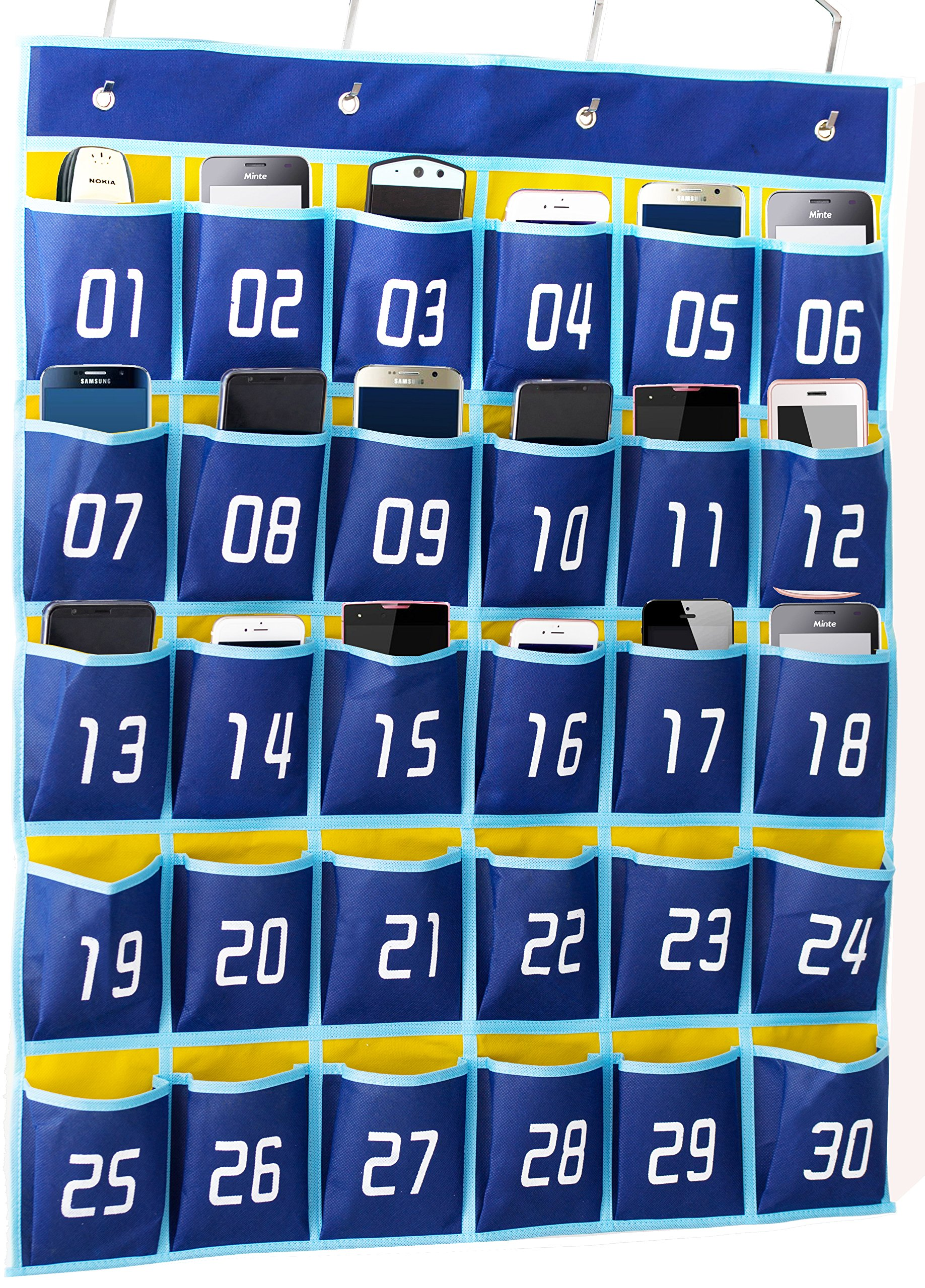Kimbora Numbered Pocket Chart Classroom Organizer for Cell Phones Calculator Holders (30 Pockets, Blue Pockets)