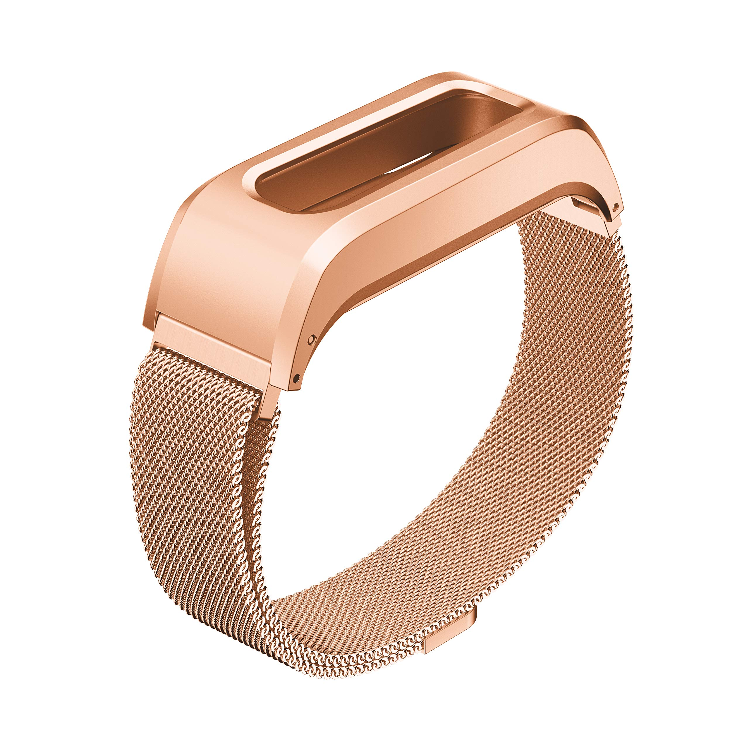 GELISHI Compatible with Fitbit One Replacement Wristband,Accessory Stainless Case + Adjustable Milanese Bracelet Band for Fitbit One Smartwatch(Rose Gold-Large,No Tracker)