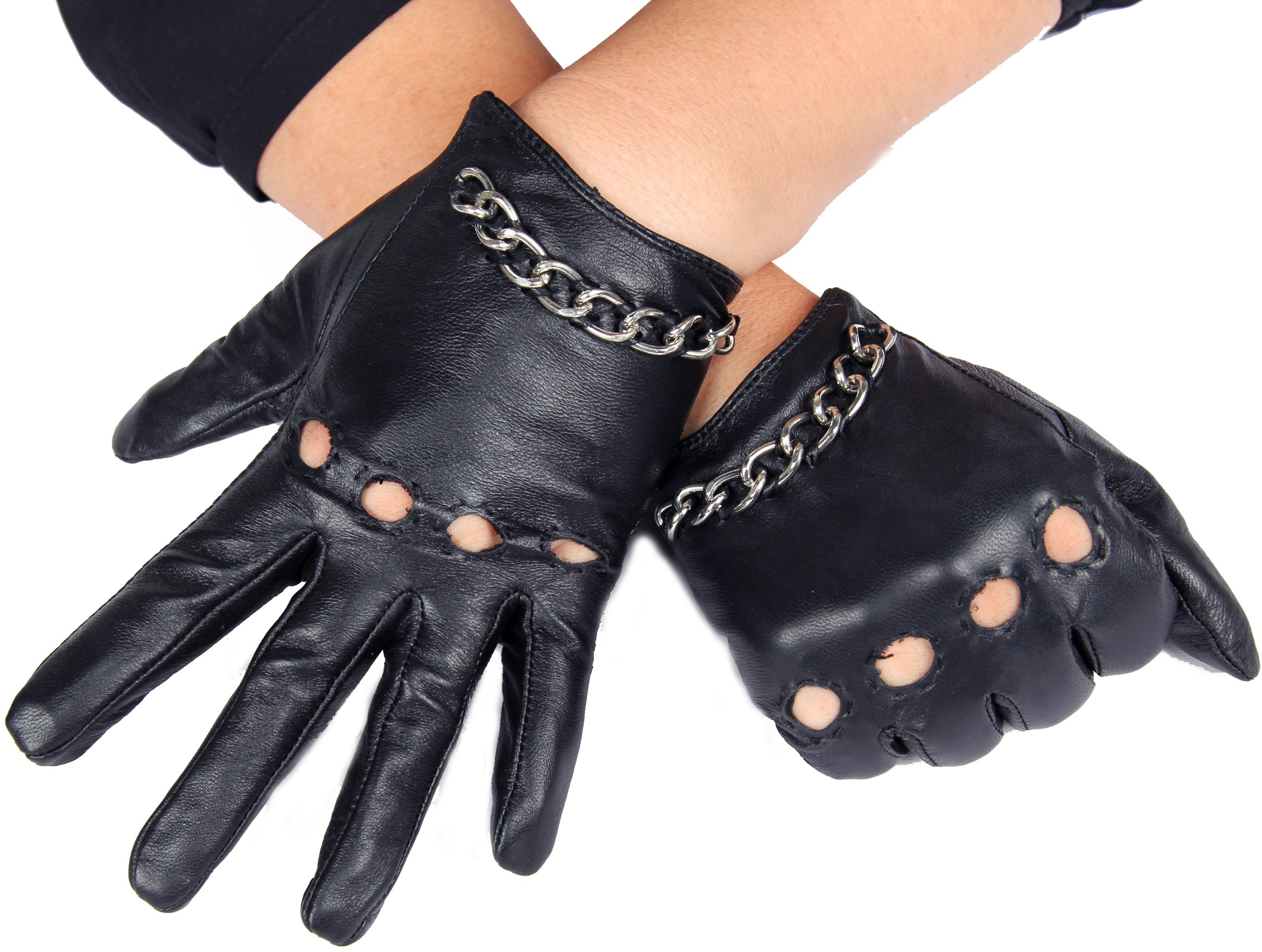 Calonice Amorino Women's Short Leather Driving Gloves silver metal chain M by Calonice Amorino (Image #1)