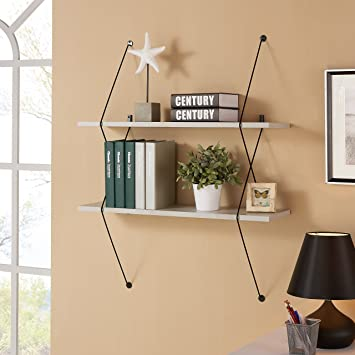 Danya B  Contemporary Two Level Grey Shelving System with Black Wire  Brackets. Amazon com  Danya B  Contemporary Two Level Grey Shelving System