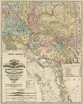 Map Of Nevada Arizona.1872 Old Wall Map Of Nevada Arizona California And New Mexico Map