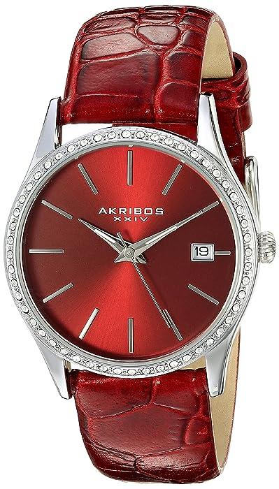 Women's AK883RD Round Red Dial Three Hand Quartz Stainless Steel Strap Watch