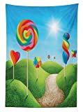 Ambesonne Fantasy Tablecloth, Fantasy Candy Land