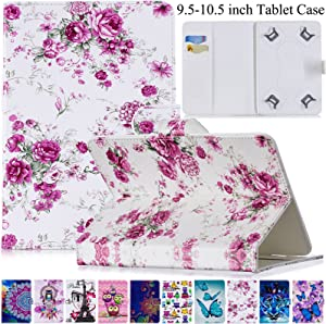 Universal 9.5-10.5 inch Case, Artyond Slim Folding Multi-Angle PU Leather Magnetic Closure Cover [Cards/Money Slots] Flip Stand Wallet Protective Shell Case for All 9.5-10.5 inch Tablet (Rose Flower)