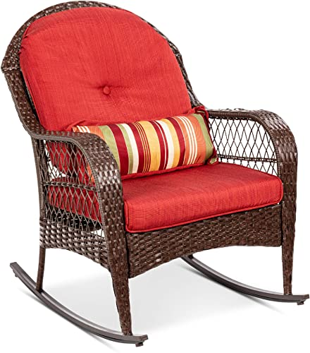 Best Choice Products Outdoor Wicker Patio Rocking Chair for Porch, Deck, Poolside w Steel Frame, Weather-Resistant Cushions – Red