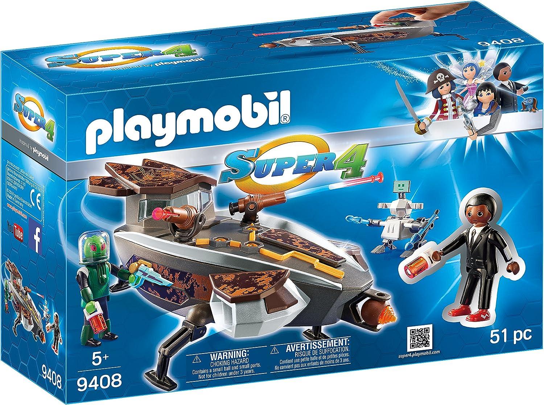 PLAYMOBIL-Gene y Sykroniano con Nave y Robot Playset de Figuras de Juguete, 9,3 x 28,4 x 18,7 cm 9408