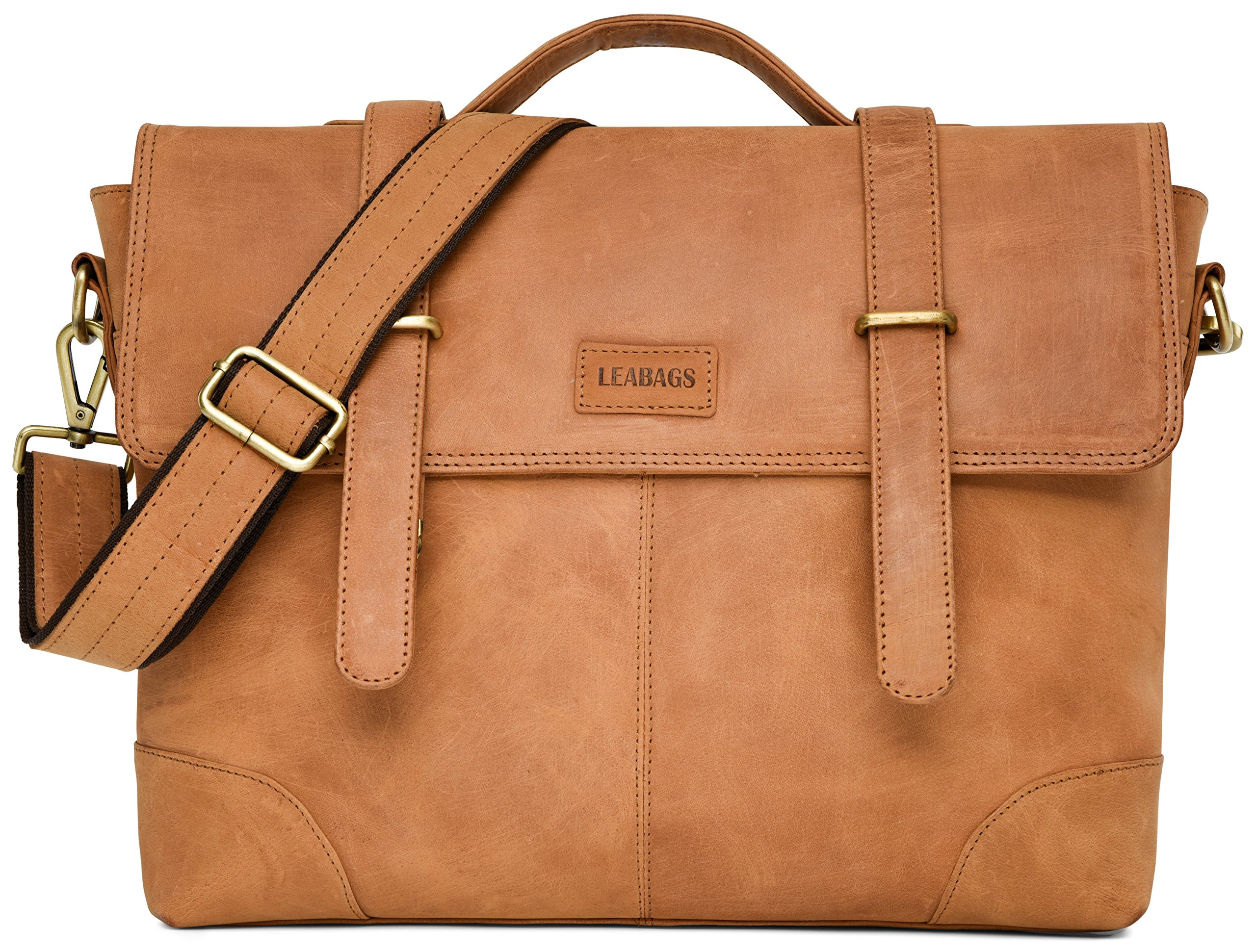 LEABAGS Liverpool genuine buffalo leather briefcase in vintage style - Brown