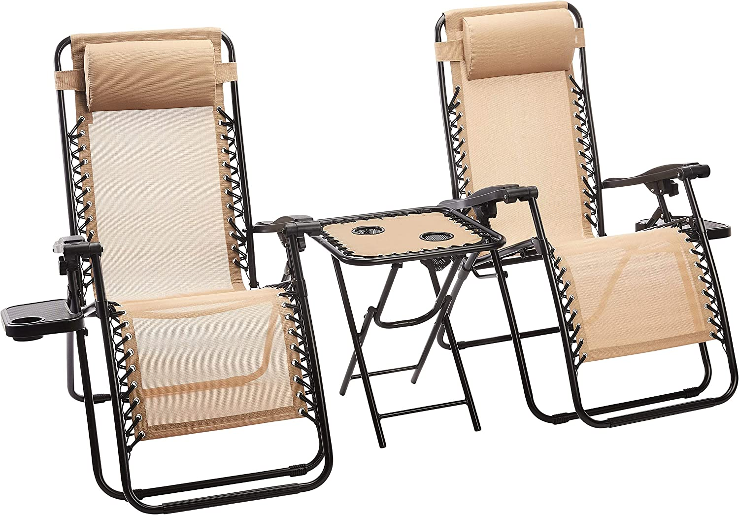 Set of 2 zero gravity chair with side table.