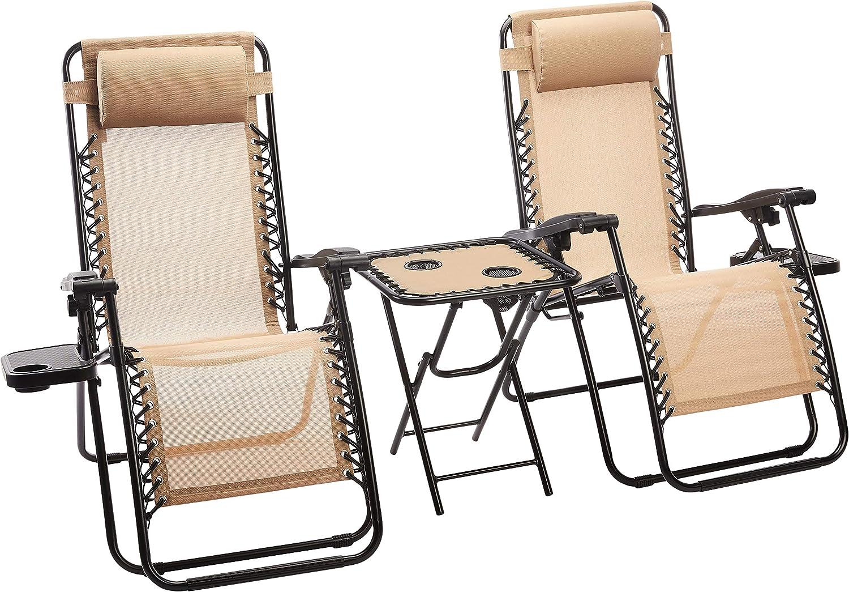 AmazonBasics - Set de 2 sillas con gravedad cero y mesa auxiliar, de color beis