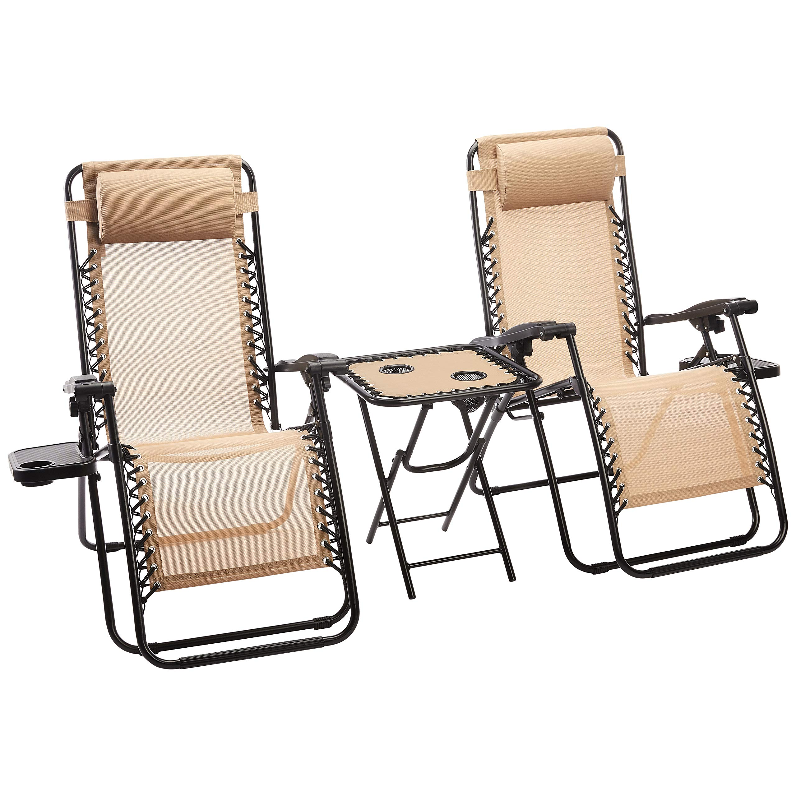 AmazonBasics Zero Gravity Chair with Side Table, Set of 2, Tan by AmazonBasics