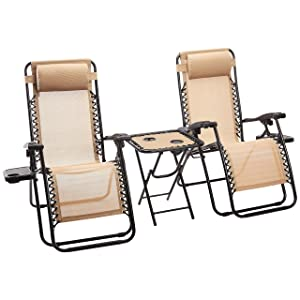AmazonBasics Zero Gravity Chair with Side Table, Set of 2, Tan
