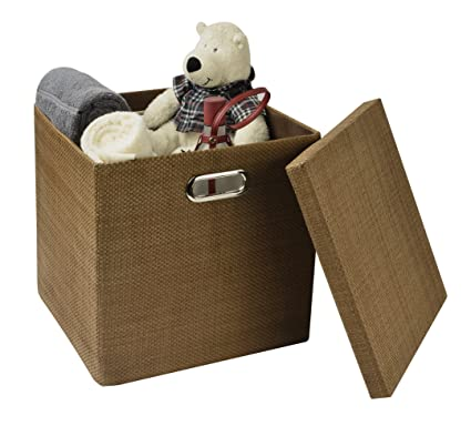 Superbe Collapsible Storage Cubes Bins 13u0026quot;x13u0026quot;13u0026quot;, Foldable  Heavy Duty Burlap