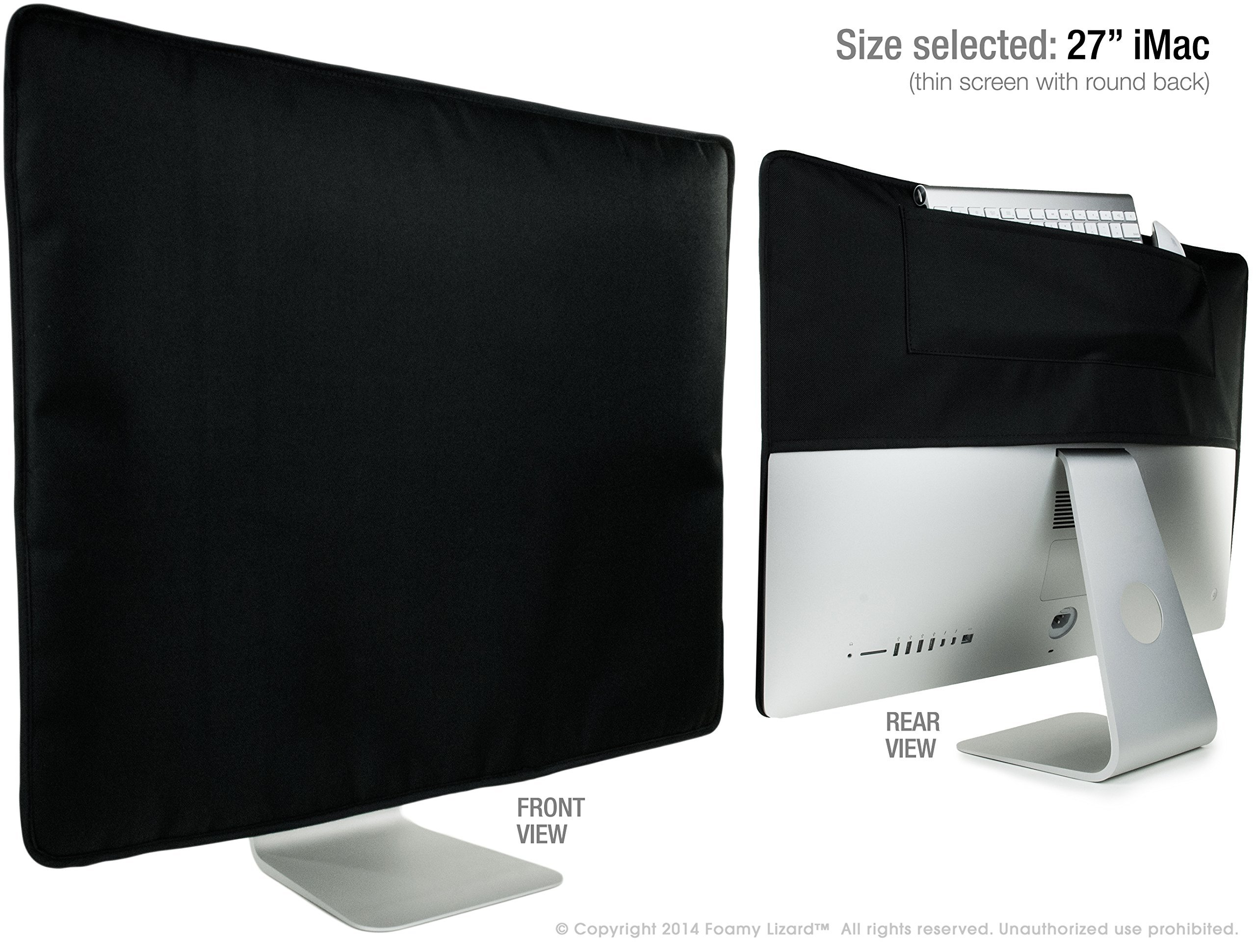 Foamy Lizard iMac Dust Cover 27'' SLIM MADE IN U.S.A. TexoShield premium PADDED front smooth lined water resistant dust guard cover with rear pocket (Also Fits 2017 iMac Pro)