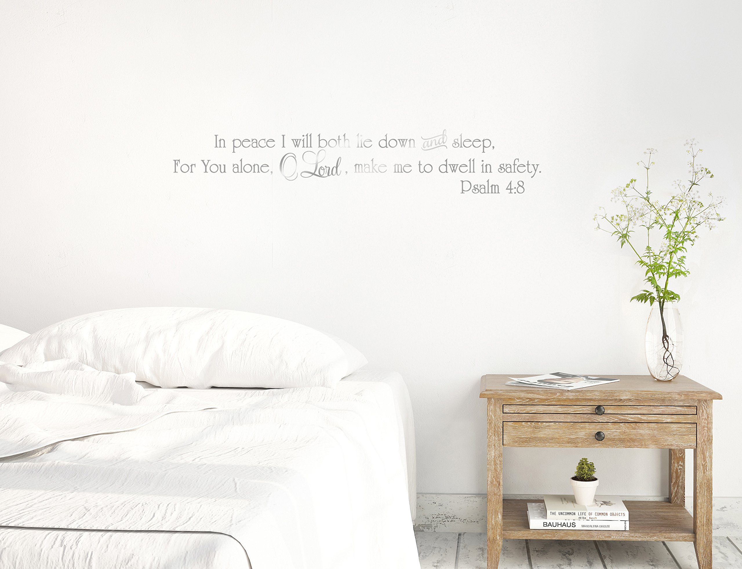 48''x8'' In Peace I Will Both Lie Down And Sleep For You Alone O Lord Make Me To Dwell In Safety Psalm 4:8 Christian Scripture Bible Verse Wall Decal Sticker Art Mural Home Decor Quote