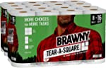 Brawny Tear-A-Square Paper Towels, Quarter Size Sheets, 16 Count of 128