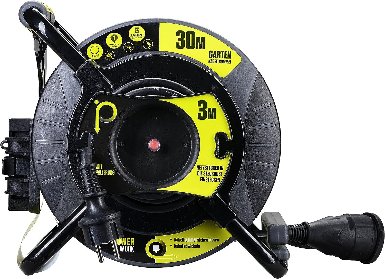 Masterplug Pro Xt Reverse Kabeltrommel Mit Einer Wetterfesten Schukoverlängerung 30 3 Meter Gummikabel Baumarkt