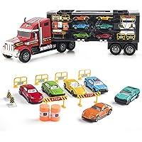 Prextex - Camión de Transporte Desmontable Transportador de Coches de Juguete de 60cm con Ruedas de Goma y 6 Coches de Juguete para Niños y Niñas