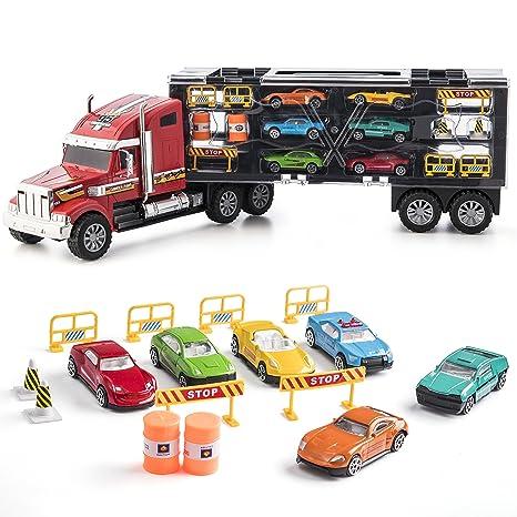 Prextex - Camión de Transporte Desmontable Transportador de Coches de Juguete de 60cm con Ruedas de